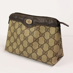 75426c9f1 VTG Gucci Monogram Pouch Make Up Bag Cosmetic